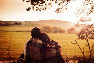 Romantic couple in the countryside
