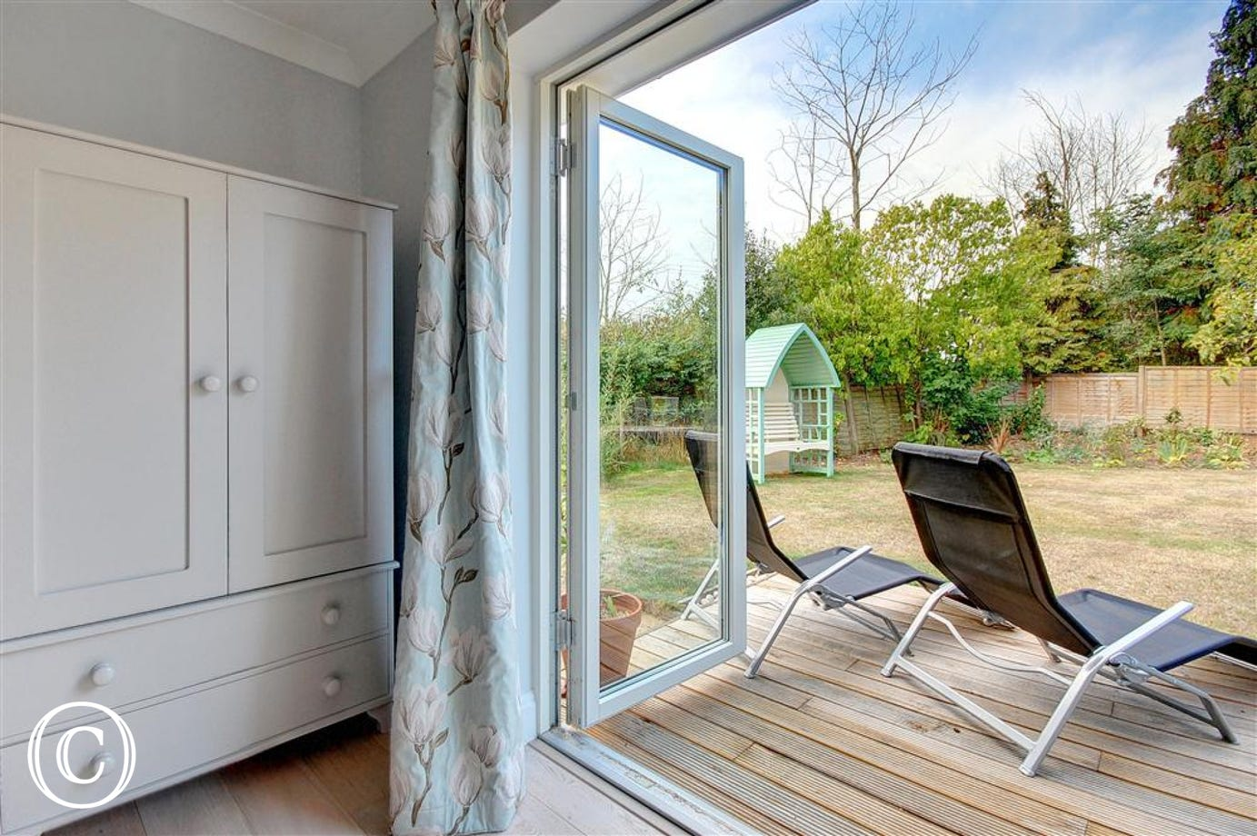 Start the day with a hit of fresh air when the bedroom patio doors are open.