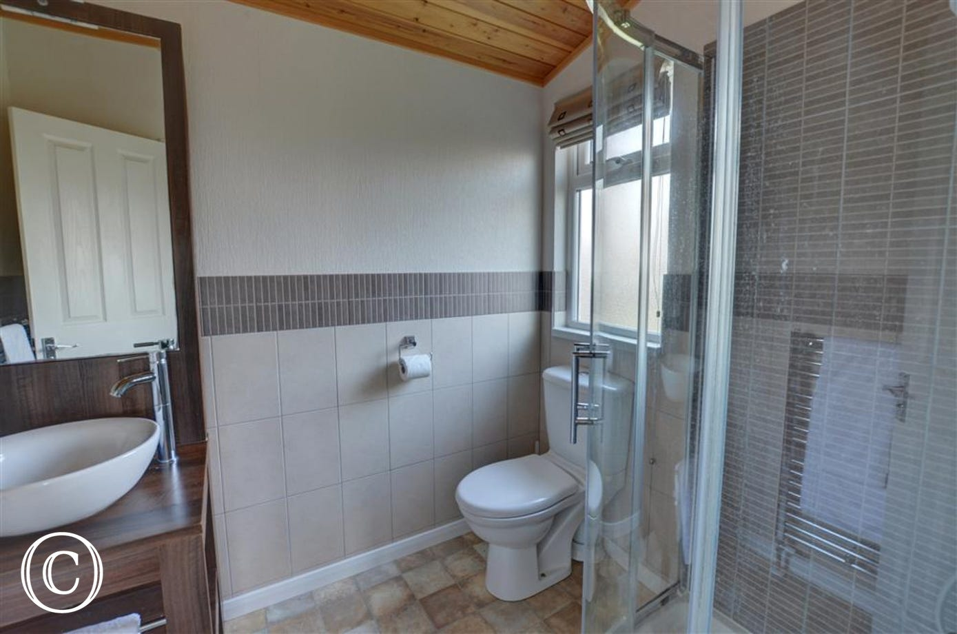 This handy en-suite shower room with loo and basin can be accessed from bedoroom 1.