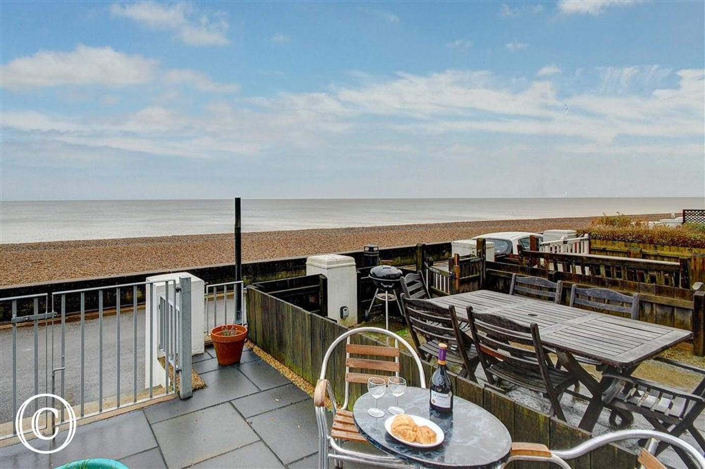 This fabulous sea side apartment also has this shared terrace with your own section and outside furniture to enable you to enjoy the sea.