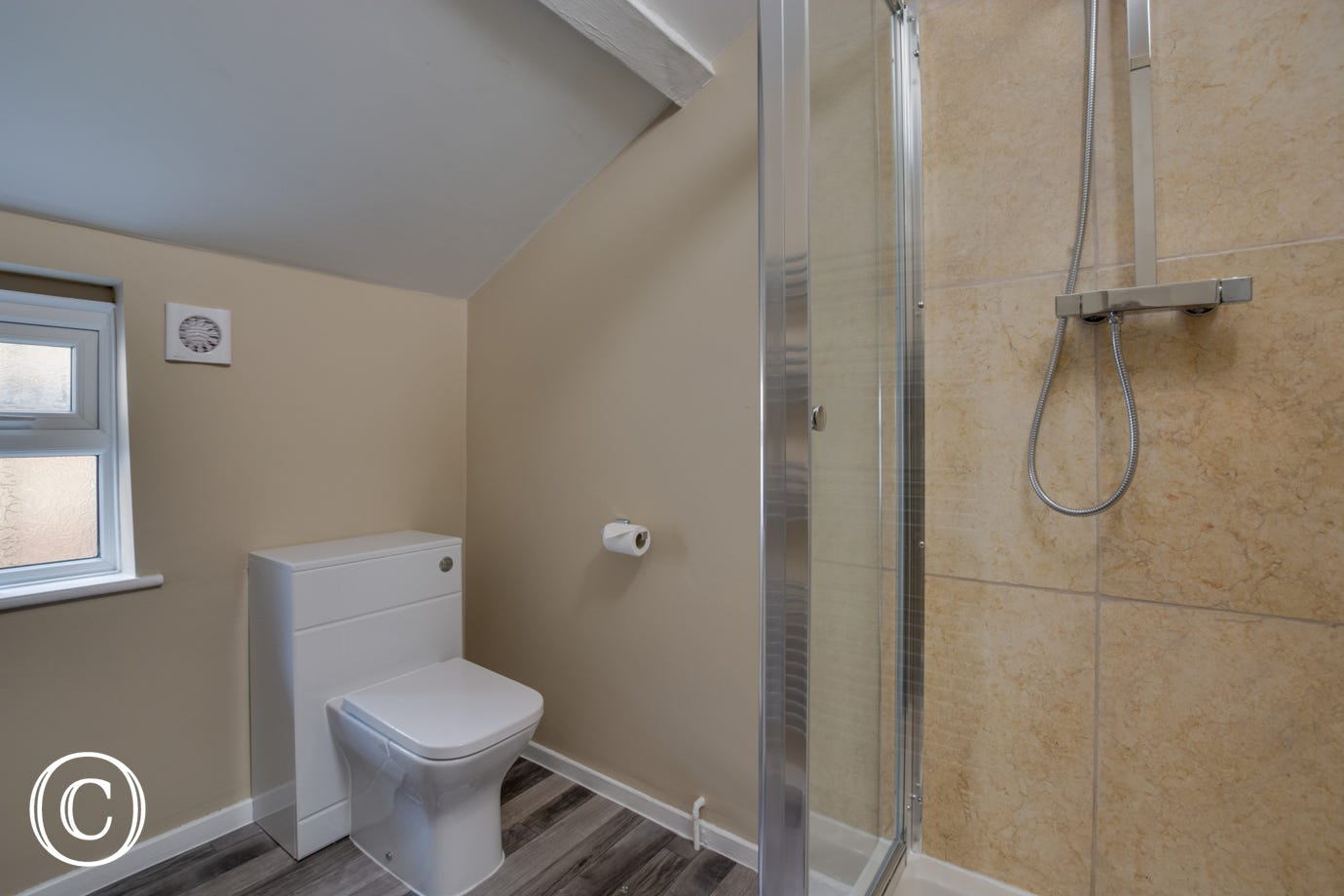 Bathroom 2  with shower, washbasin & wc