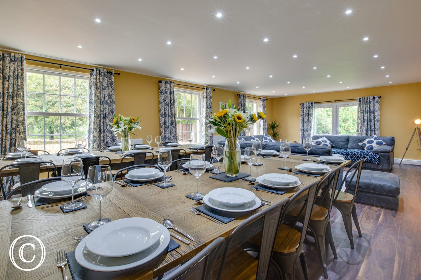 Dining Area with large dining table & chairs & comfortable seating