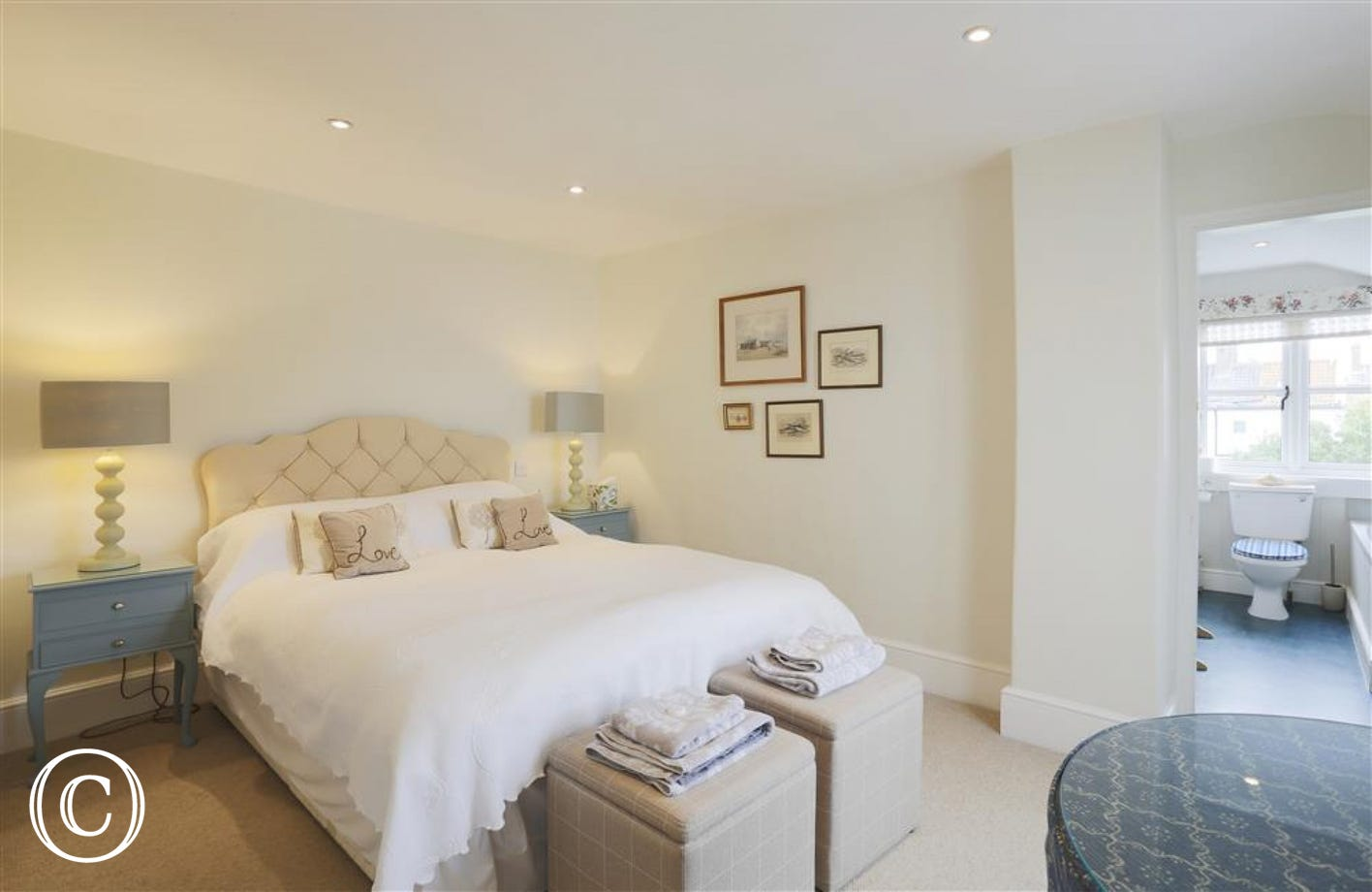 This king-size bedded room is one of three but the only one with an en-suite providing luxury and comfort.