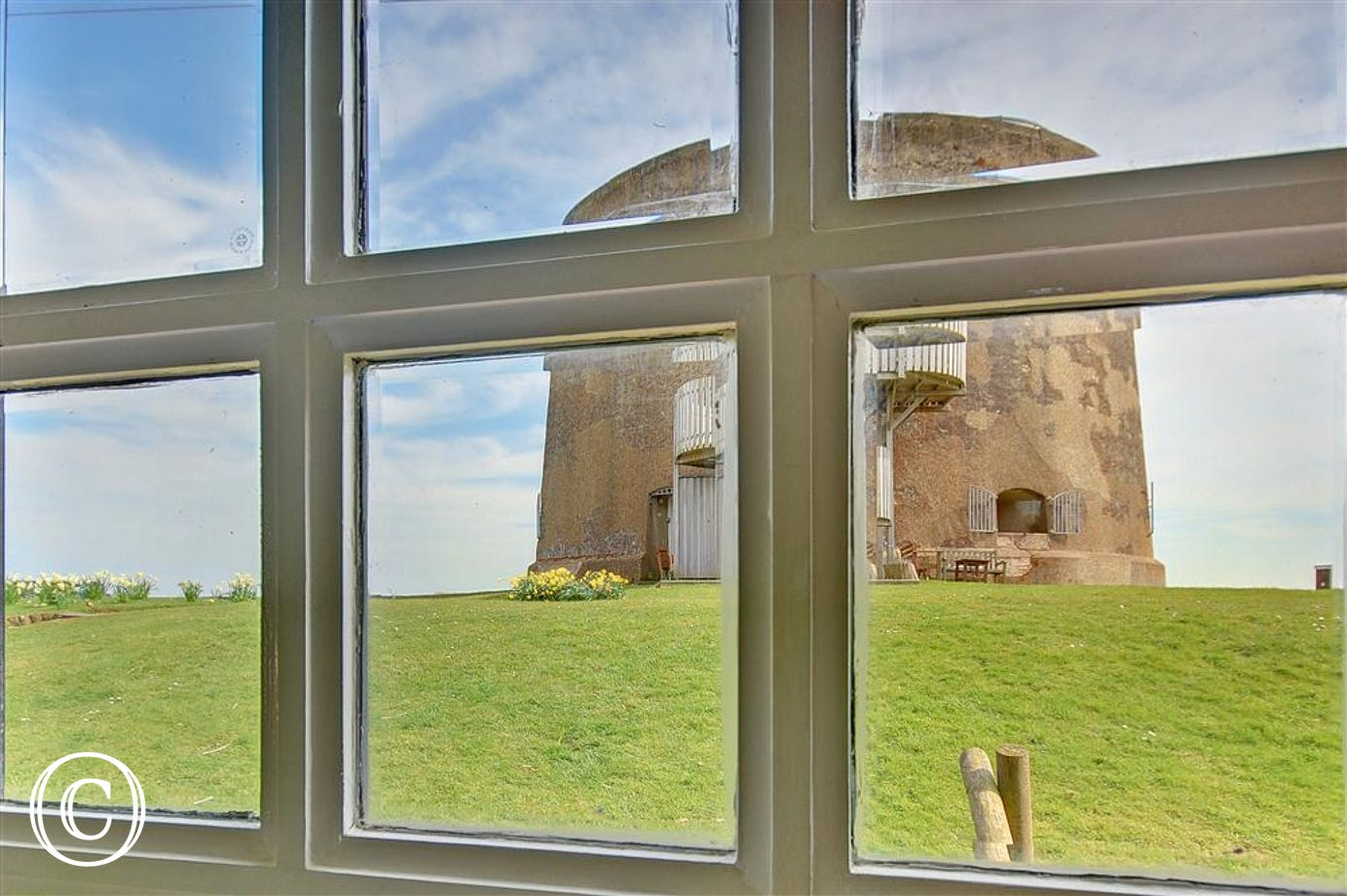 Enjoy the view of the Martello Tower from within.